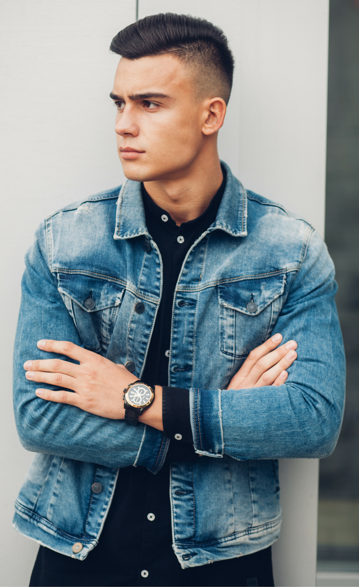 Denim Jacket Outfit For Men Light Style Covering Dark Dress Shirt