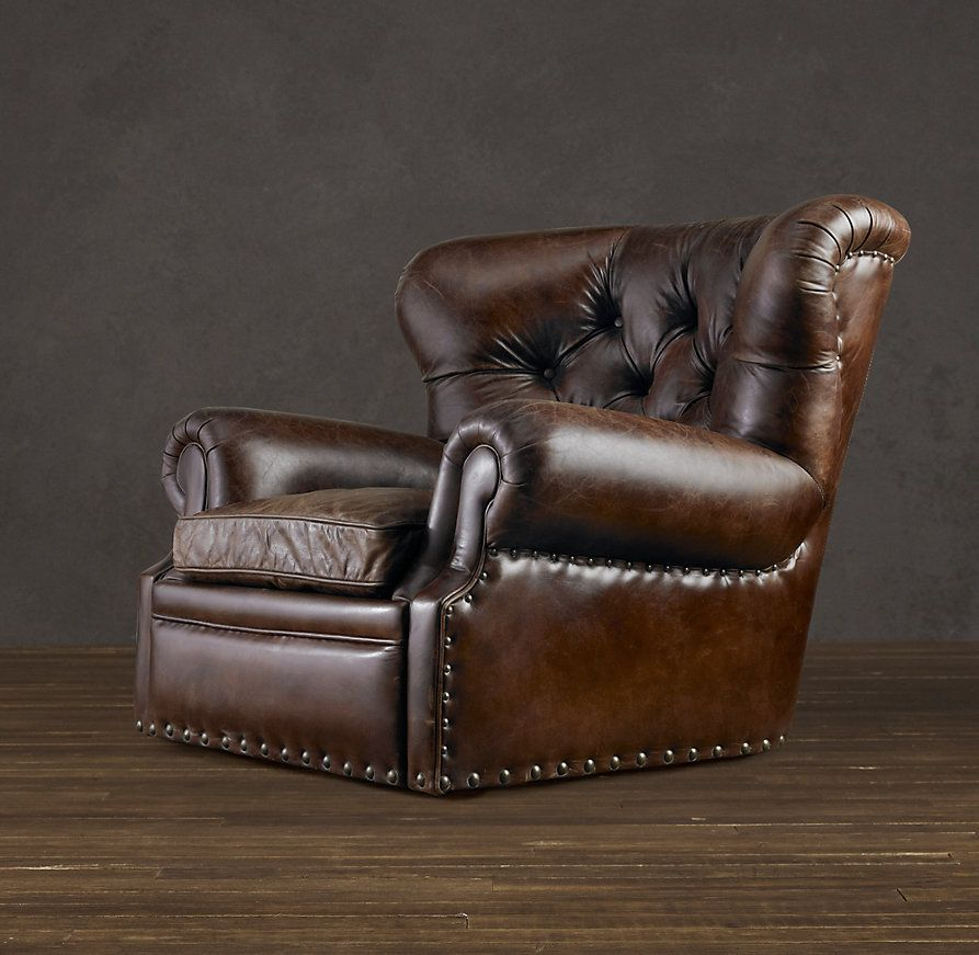 Churchill leather swivel chair with nailheads man cave