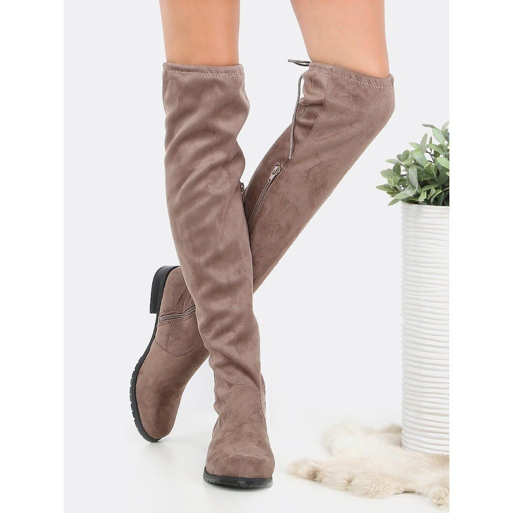 4bdc6a14625 Flat Tie Back Suede Thigh Boots TAUPE