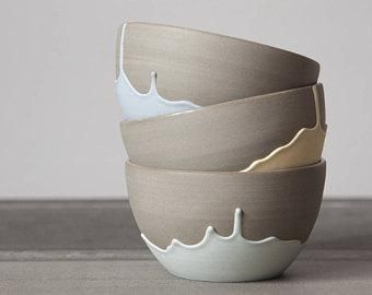 Grey Stoneware Bowl With Drips