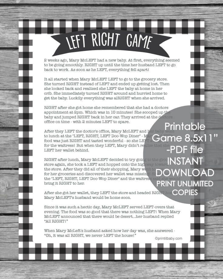 Printable Left Right Baby Shower Game Black And White