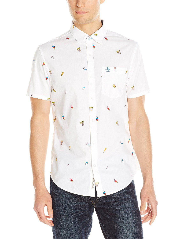 1cc9e044939 Original Penguin Men s Short Sleeve Carnival Food Button Down Shirt   Clothing