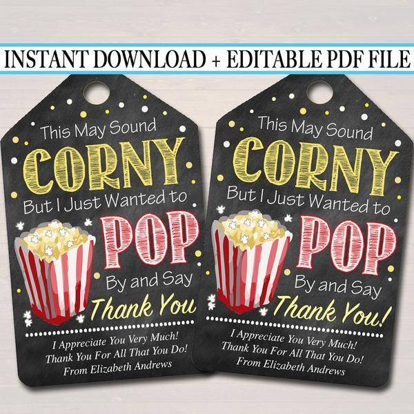 EDITABLE Popcorn Thank You Tags, Teacher Appreciation, Treat Tag INSTANT DOWNLOAD Printable Chalkboard Tags, Volunteer Staff Thank You Label #employeeappreciationideas
