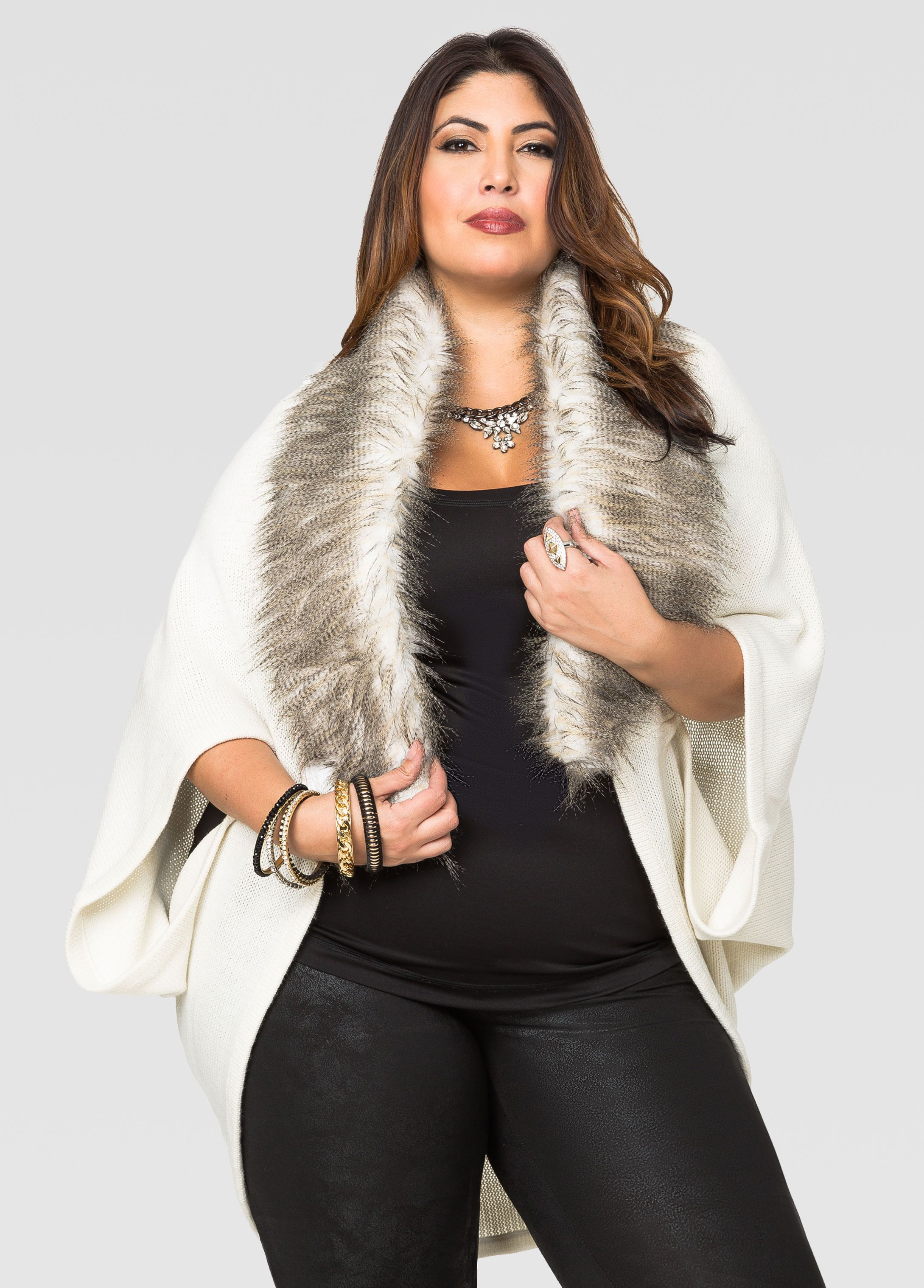 Fur Collar Cocoon Cardigan - Ashley Stewart