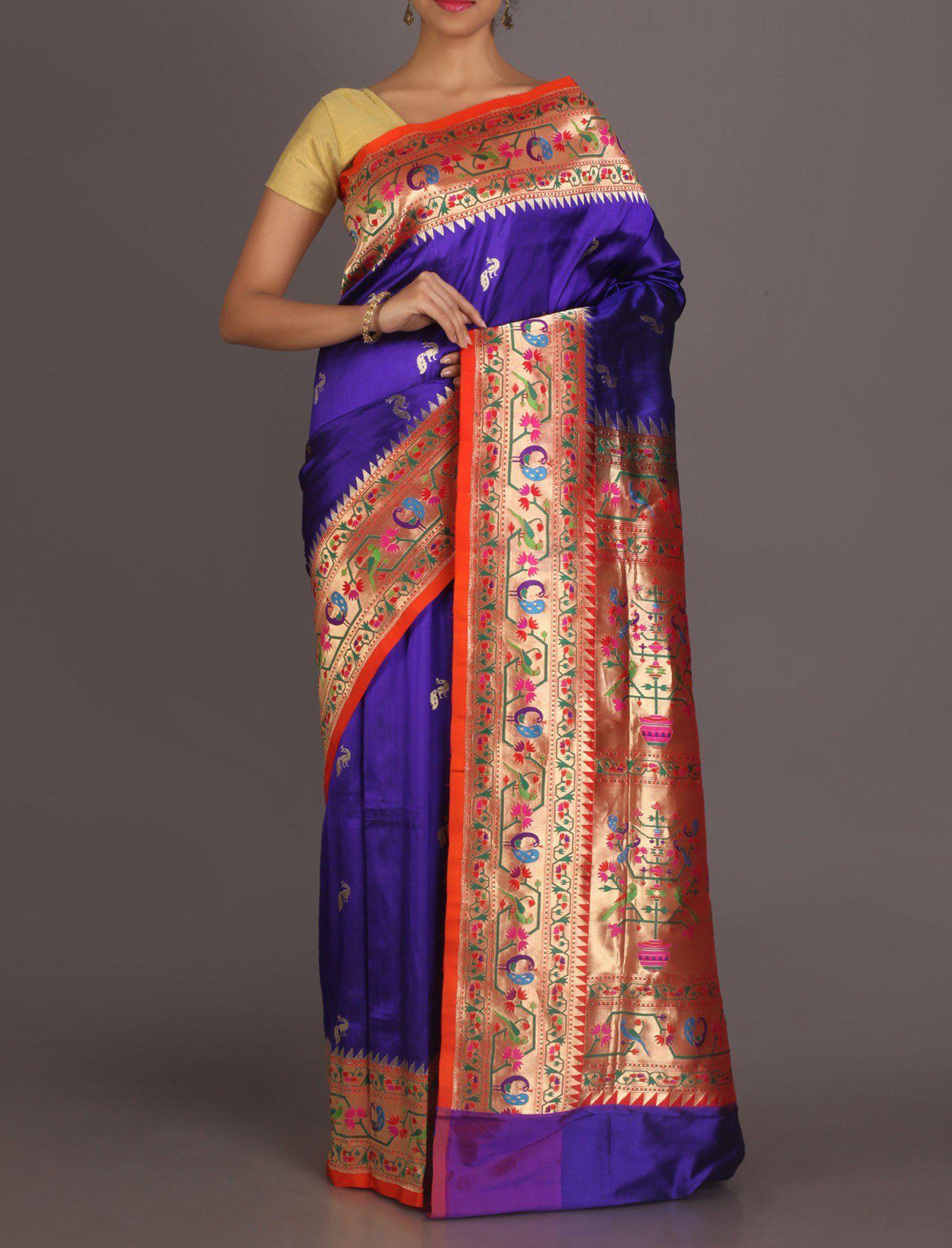 Saree images paithani meghana kalash of prosperity bountiful real zari paithani silk saree