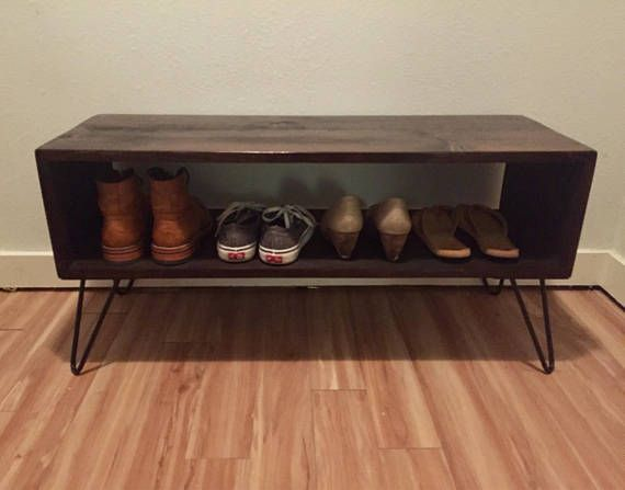 Custom Retro Rustic Midcentury Entryway Shoe Rack Bench On Etsy Entryway Shoe Bench With Shoe Storage Shoe Rack Bench