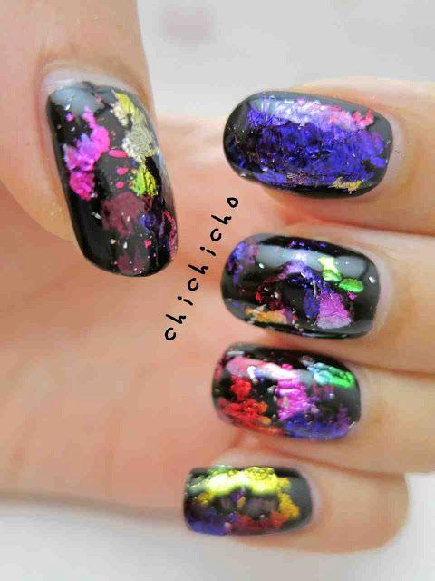 Galaxy / Rainbow Nail Foil Nail Art   chichicho~ nail art addicts ...