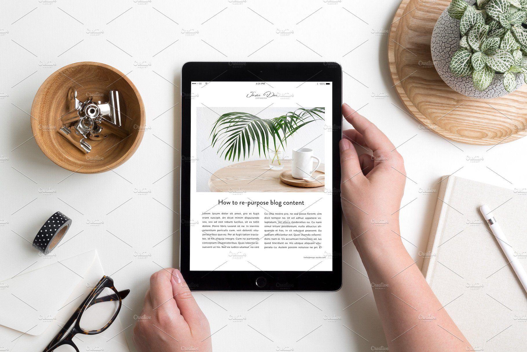iPad Lifestyle Flat Lay Photo Mockup #save#placeholder#click