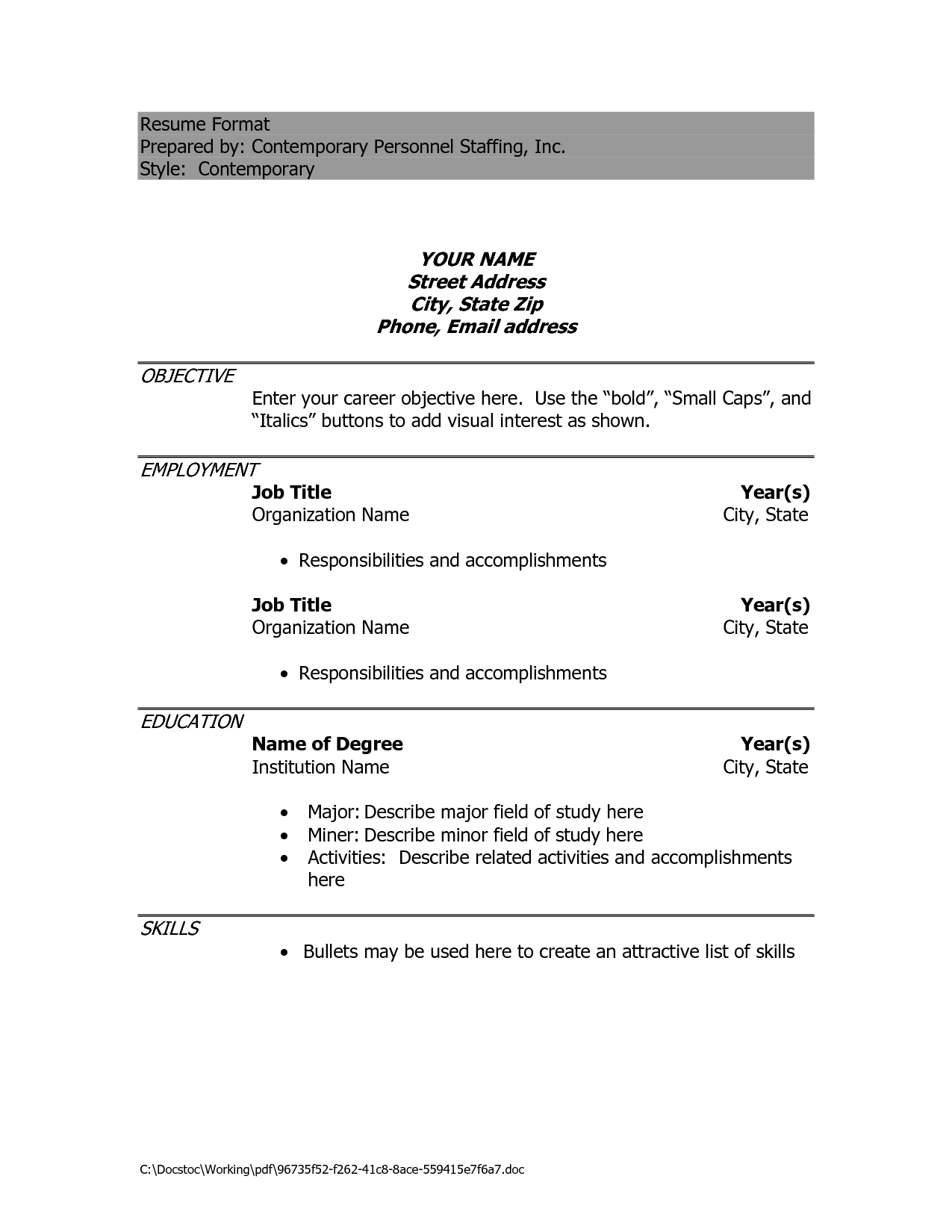 Resume Template Doc Resume Format For Teachers Doc File Resume Format For Teachers Doc