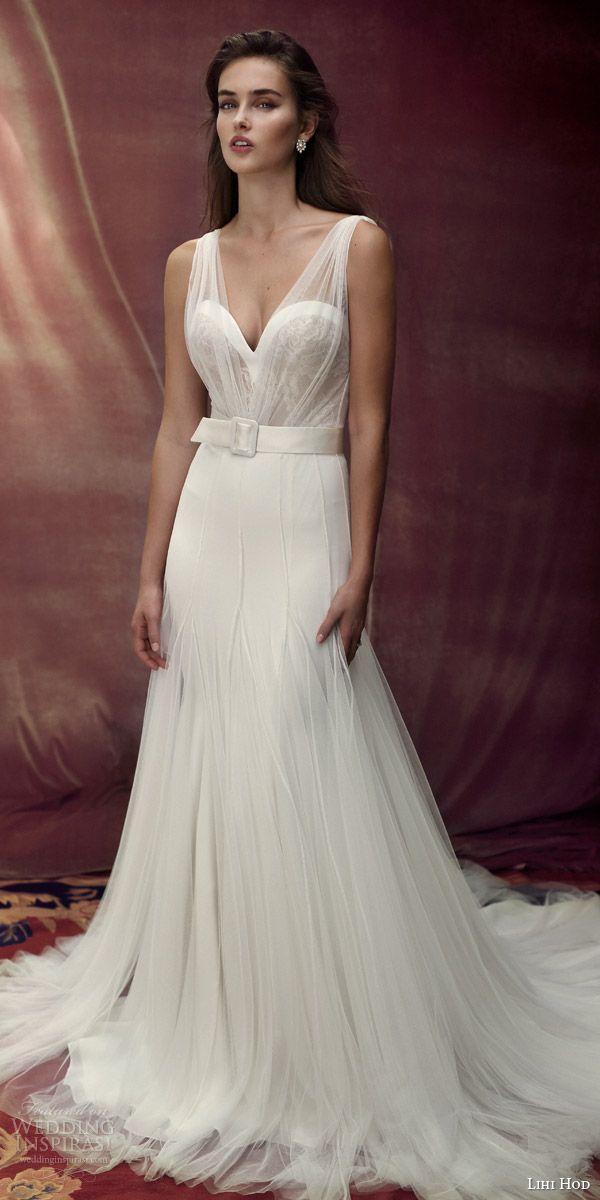 b217c2b36b5 lihi hod bridal 2016 provence romantic wedding dress sleeveless sheer  illusion gathered strap bodice