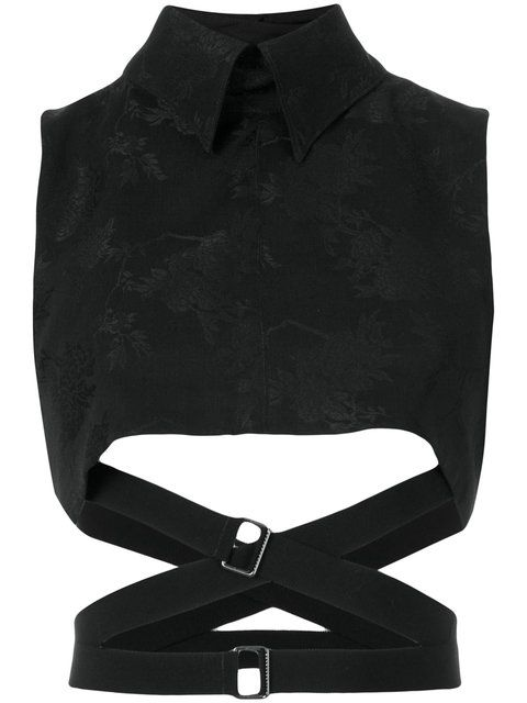 ANN DEMEULEMEESTER Strapped Crop Top. #anndemeulemeester #cloth #top
