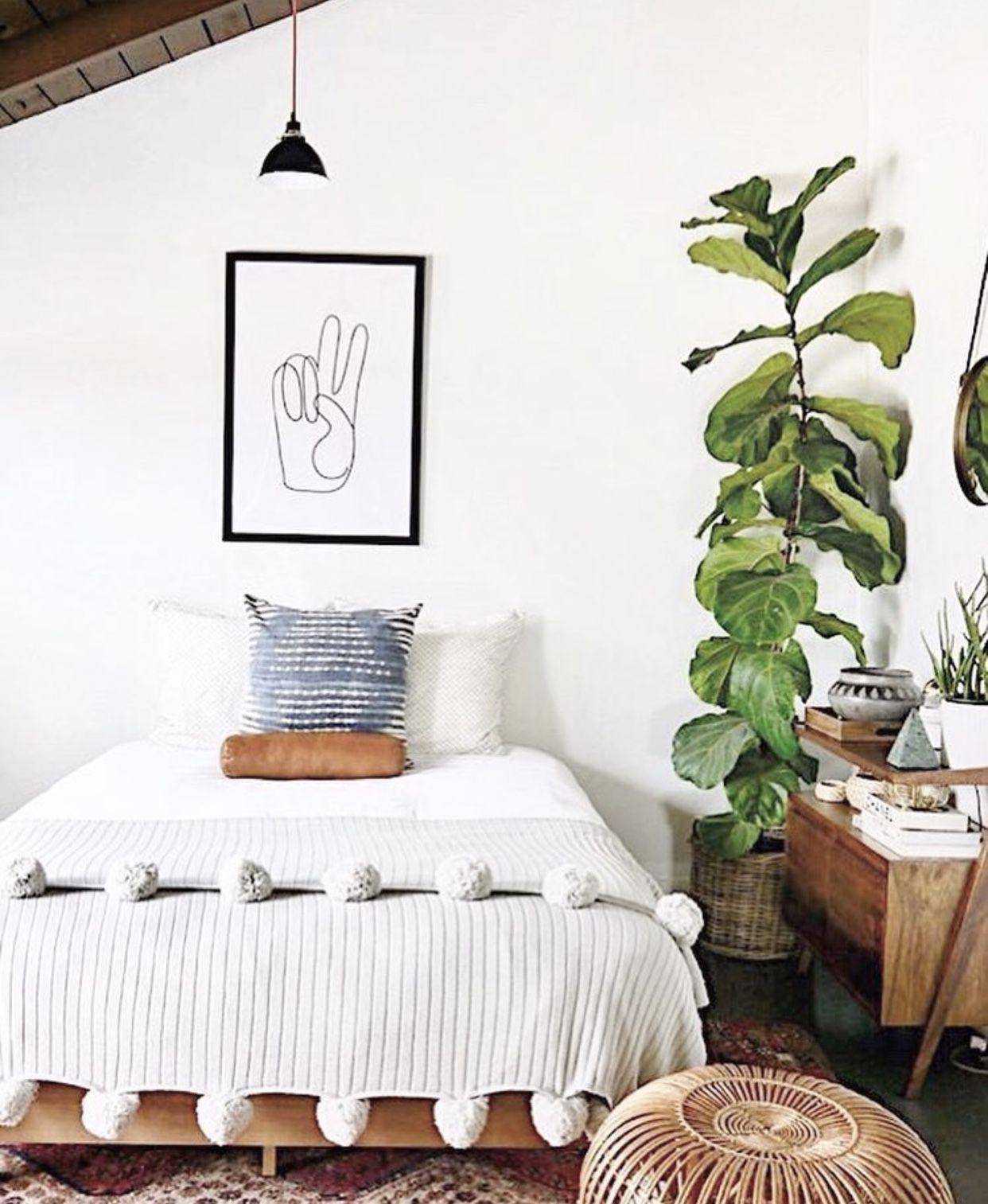 Modern boho bedroom with pom blanket and indoor plants # ... on Boho Bedroom Modern  id=47635
