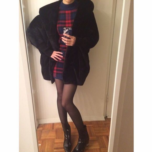 Faux fur coat Black faux fur coat with hood. Very warm and comfy yet chic. Jackets & Coats