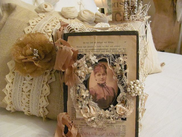 journal front - vintage lace, shabby whites