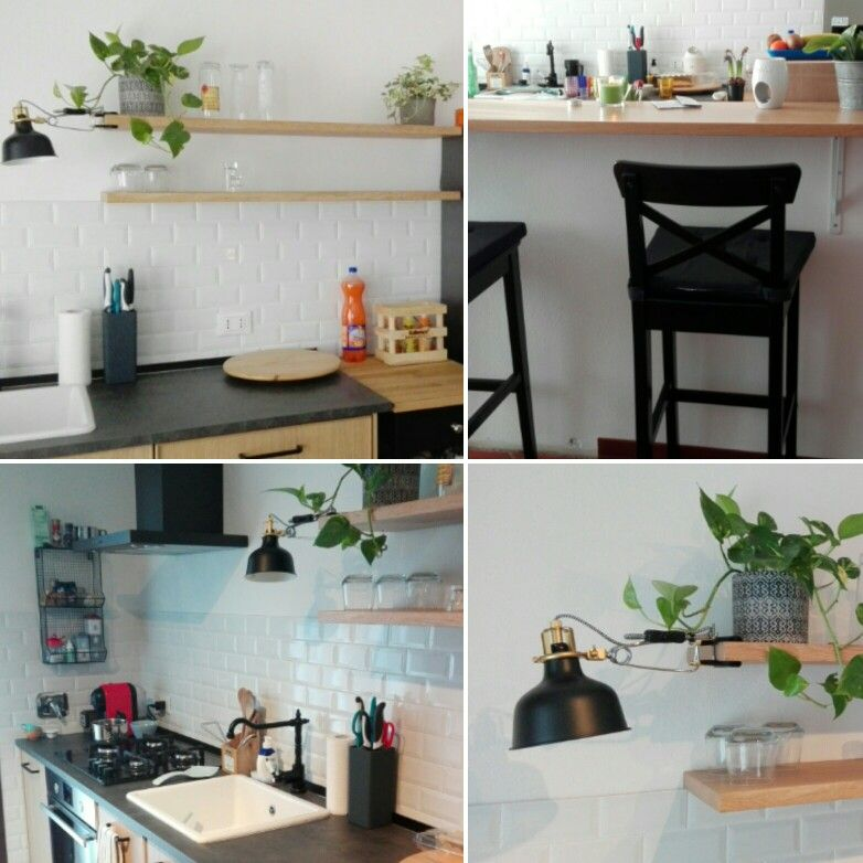 Cucina bianca rovere e nero ikea . Ranarp. Ingolf | cucina ...