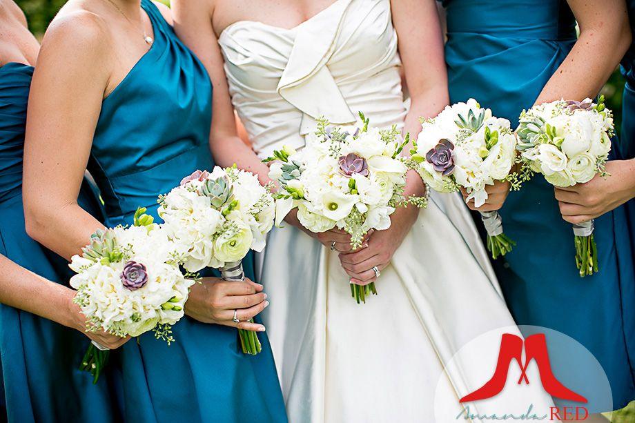 Peacock Blue Bridesmaid Dresses & Succulent Wedding Bouquets