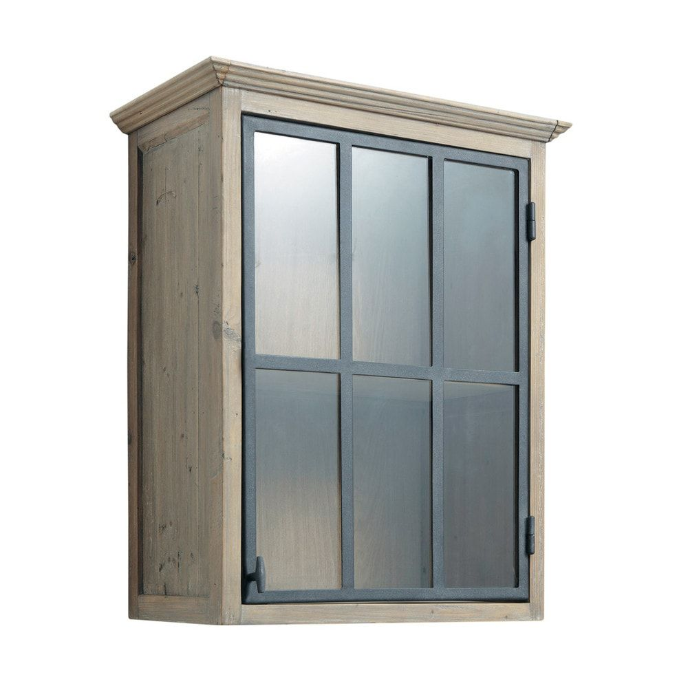meuble haut vitre de cuisine ouverture gauche en pin recycle l60 copenhague