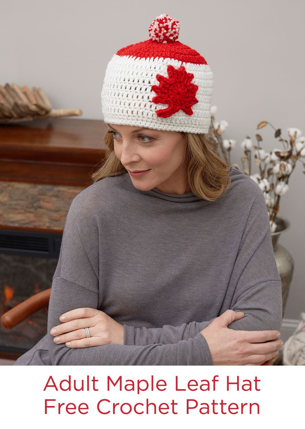 Adult Maple Leaf Hat Free Crochet Pattern in Red Heart Yarns ...