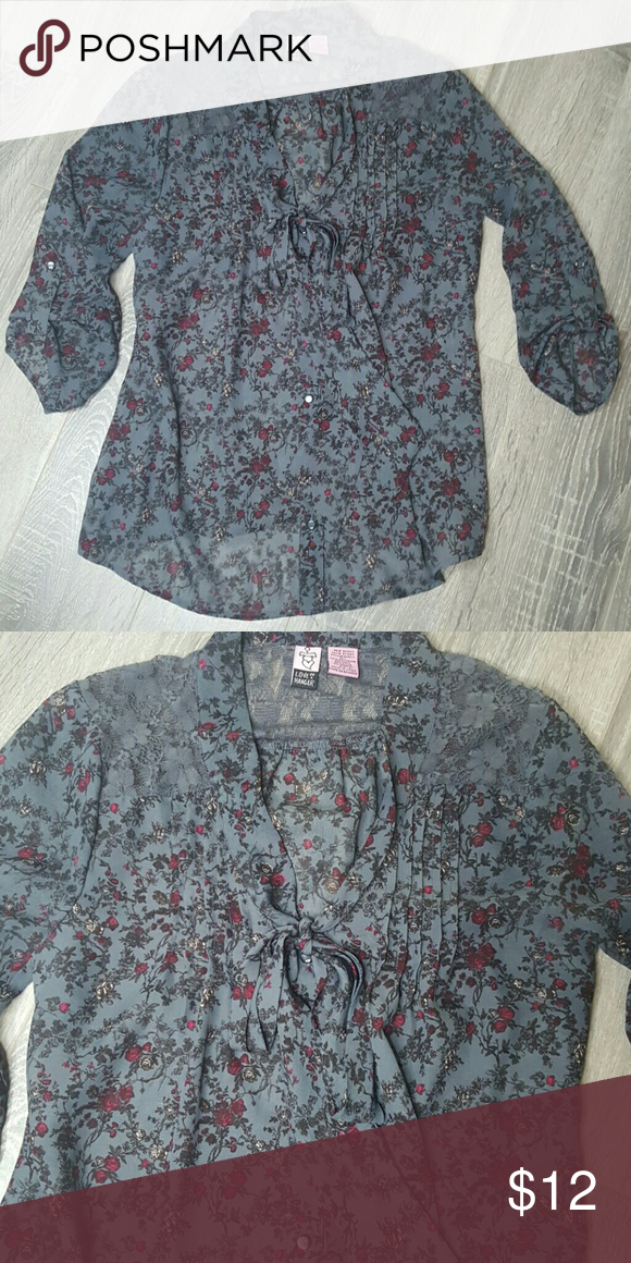 Tie around the Nk Top Buttons down and ties around Nk Size M Purchased at Nordstrom love on a hanger Tops Blouses