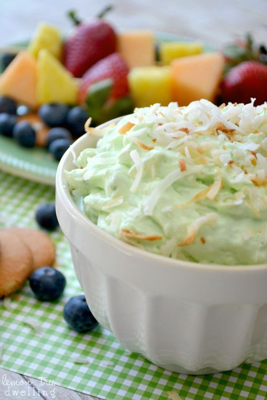 Pistachio Pineapple Dip! Mmmm! Sweet and tart! Serve with fruit, vanilla wafers and other goodies! Only 5 ingredients! Plus we always need new dips for potlucks!