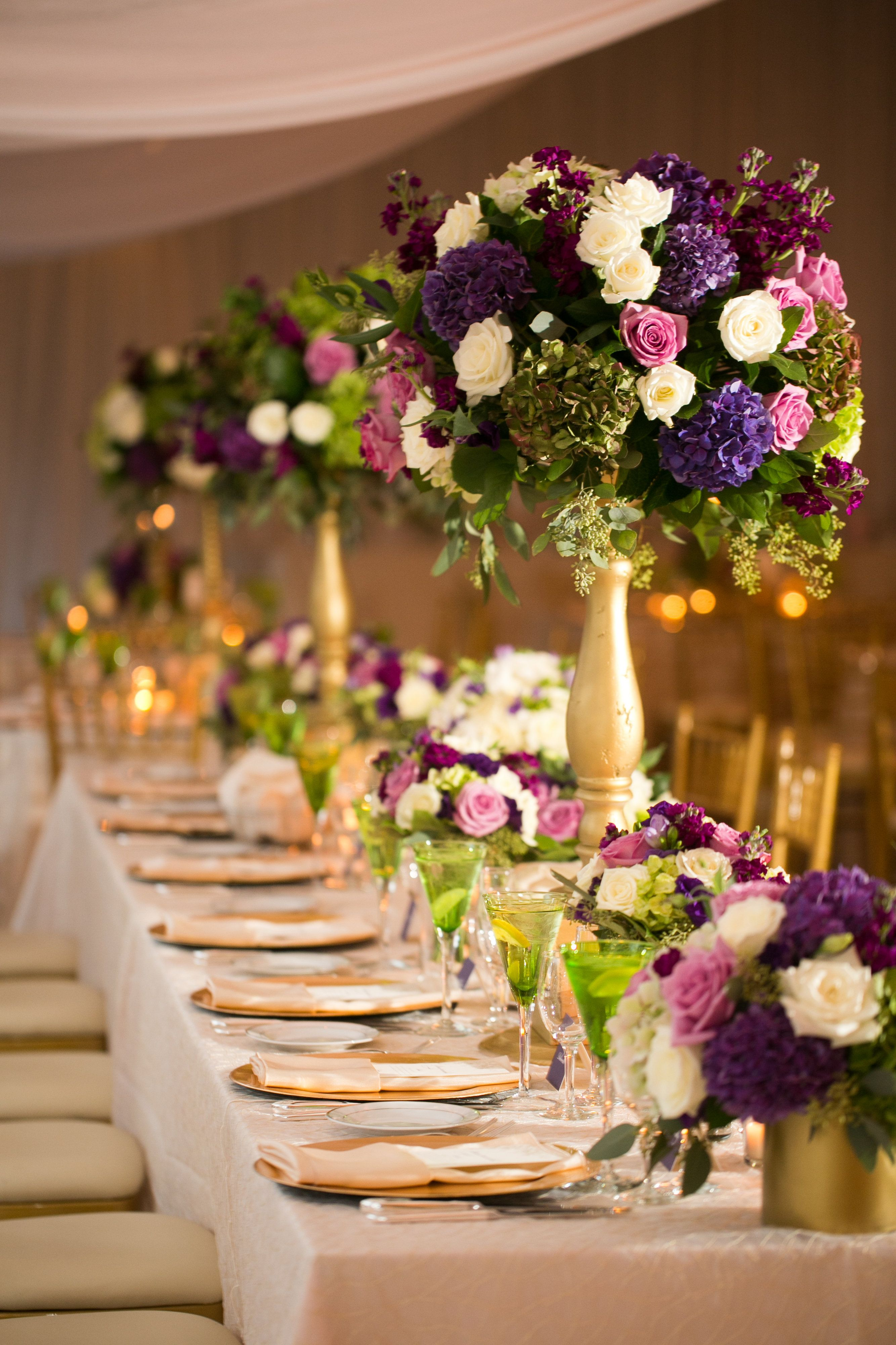 Wedding vase decorations november 2018 Tall jeweltoned table centerpieces with touches of ivory  gold