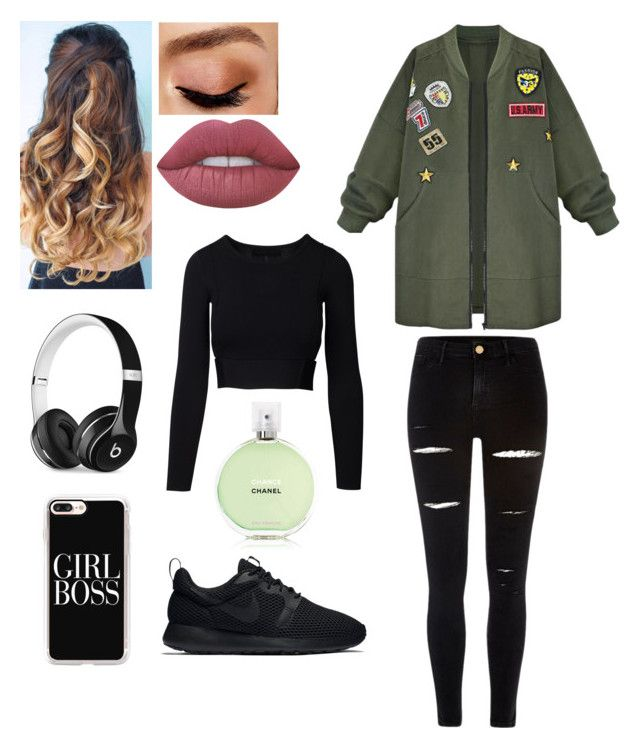 """""""So Good"""" by puck-1995 ❤ liked on Polyvore featuring WithChic, River Island, NIKE, Lime Crime, Avon, Chanel, Beats by Dr. Dre and Casetify"""