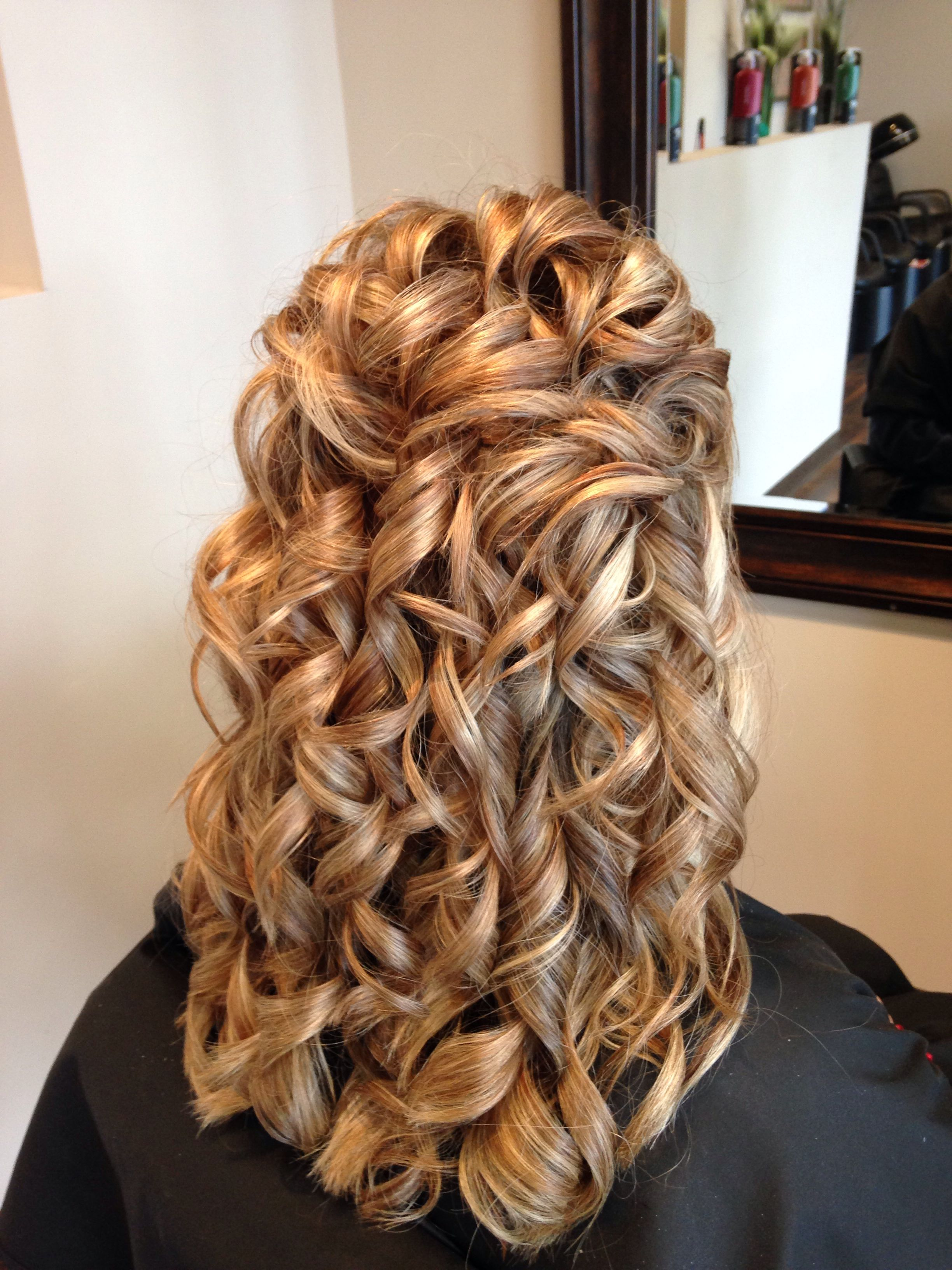 For my sons wedding, partial updo, formal, wedding ...