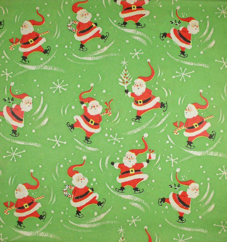 Vintage Christmas Wrapping Paper Skating Santa New Old Gift Wrap Vintage Christmas Wrapping Paper Christmas Ephemera Christmas Gift Wrapping Paper