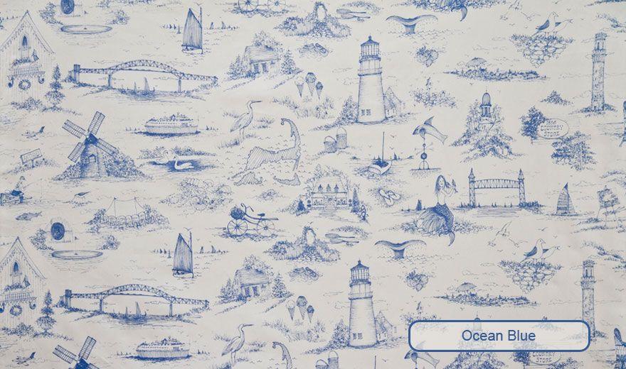 Cape Cod Toile Fabrics Wallpaper Custom Carpets Plllows Joan