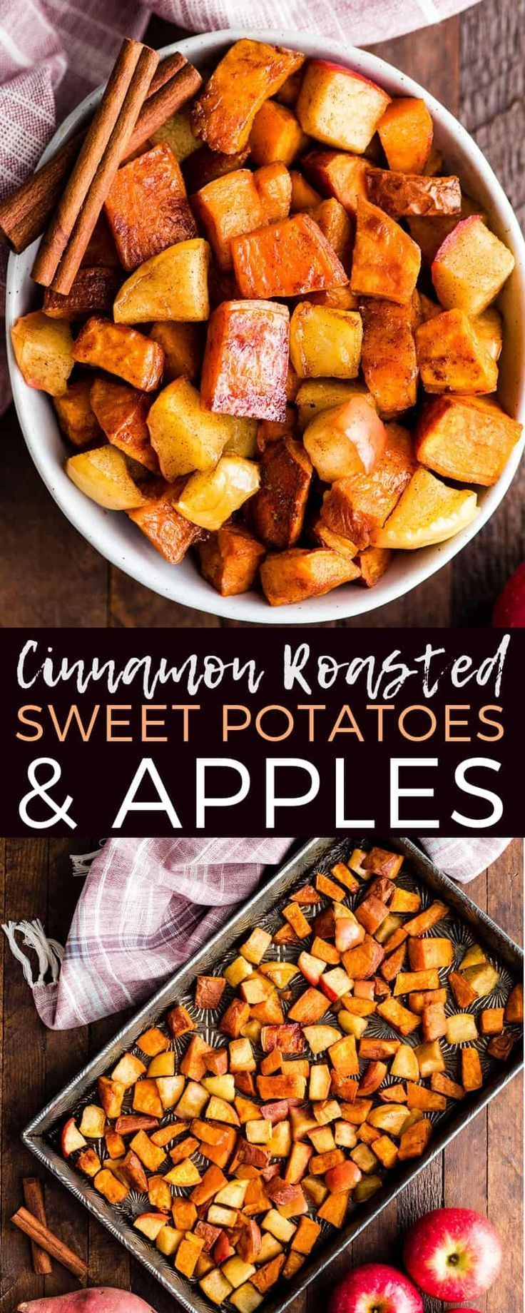 This Cinnamon Roasted Sweet Potatoes and Apples Recipe is a healthy and easy side dish that is perfect for Thanksgiving! These crispy roasted sweet potato cubes and tangy apples are made with only 6 ingredients and are paleo, vegan, gluten-free & dairy-free! #roastedsweetpotatoes #apples #cinnamonapples #cinnamonsweetpotatoes #paleo #vegan #glutenfree #thanksgiving via @joyfoodsunshine images