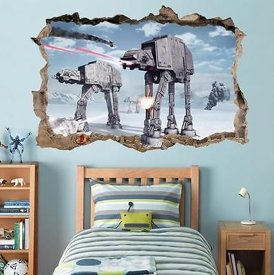 Star Wars Battle Of Hoth Smashed Wall Decal Removable Wall Sticker Art Hole H280 Star Wars Wall Decal Kids Wall Decals Star Wars Wall Sticker