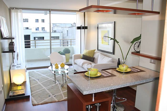 Foto departamento kitchen cocinas peque as decoraci n for Barras para departamentos pequenos