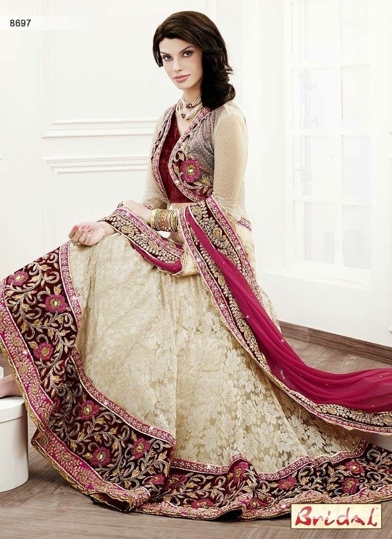 Awesome Off White Diamond Work Net Designer Lehenga Choli