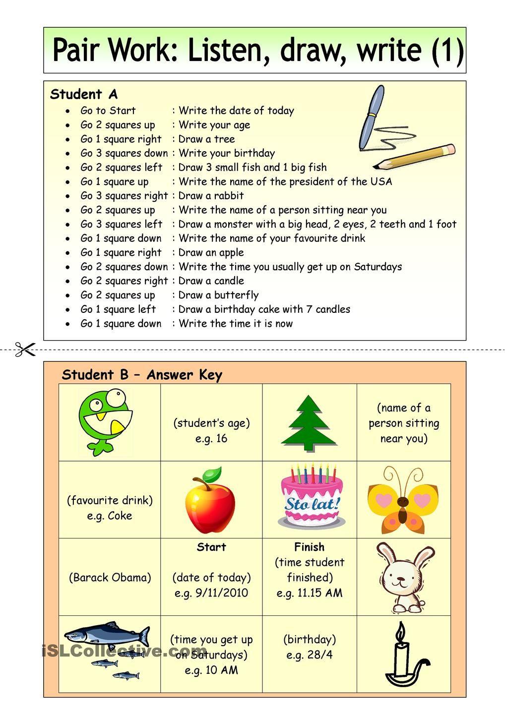 Pair Work: Listen, draw, write (1)   English Language, ESL, EFL ...