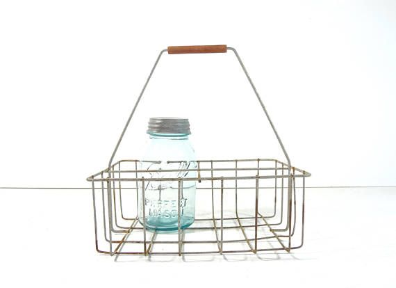 Vintage Metal Wire Milk Bottle Carrier Metal Wire Basket