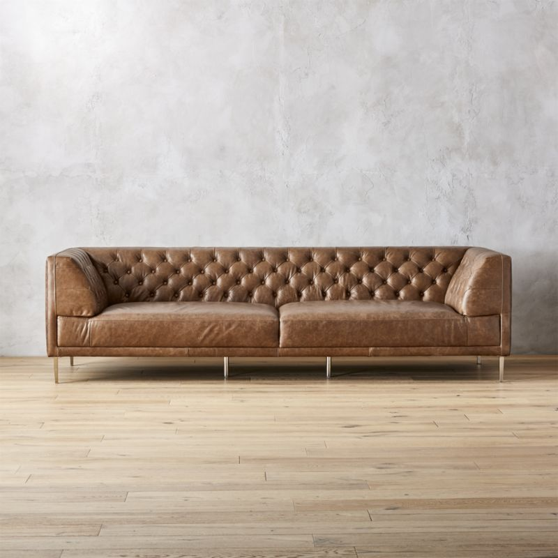 Brown Leather Tufted Extra Large Sofa