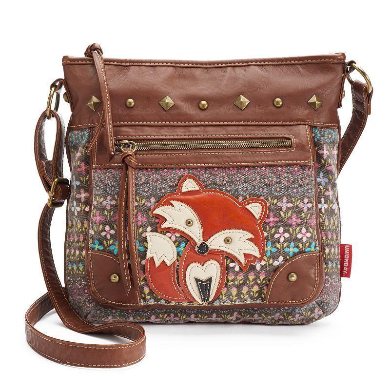 Unionbay Fox Applique Crossbody Bag, Women's, Med Brown