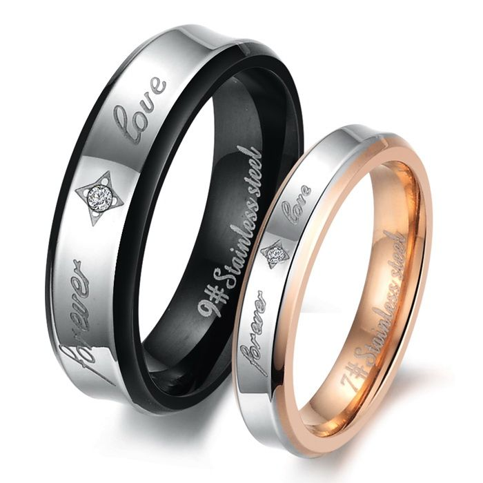 Forever Love Rhinestone Cz Anium Stainless Steel Mens Las Promise Ring Wedding Bands