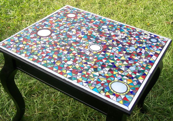 Mosaic Table Colorful Geometric and Very Detailed LOVE IT!