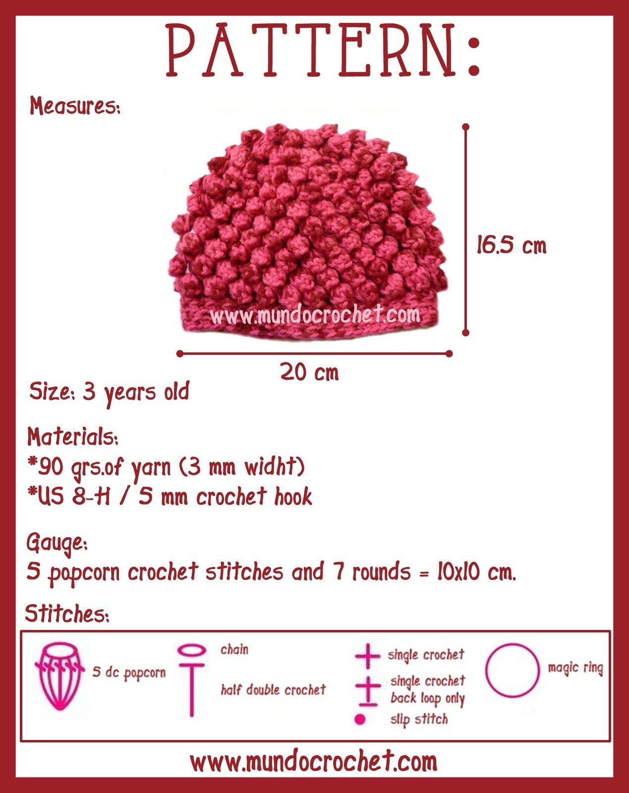 Popcorn crochet stitch hat   Patrones   Pinterest   Para bebes ...