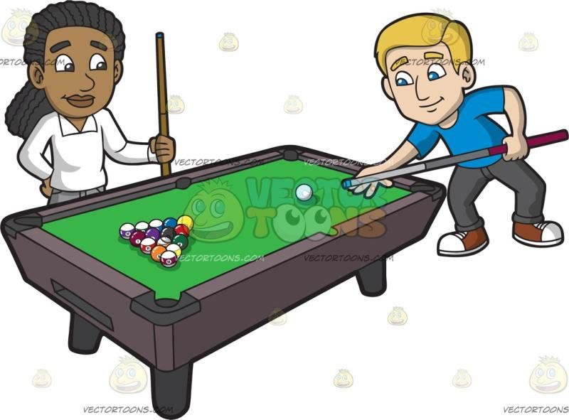 Pool Game Clipart Two Guy Friends Starting A Of Cartoon