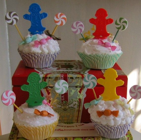 Fake Cupcakes Vintage Candyland Game Piece Cupcakes Set Four Can