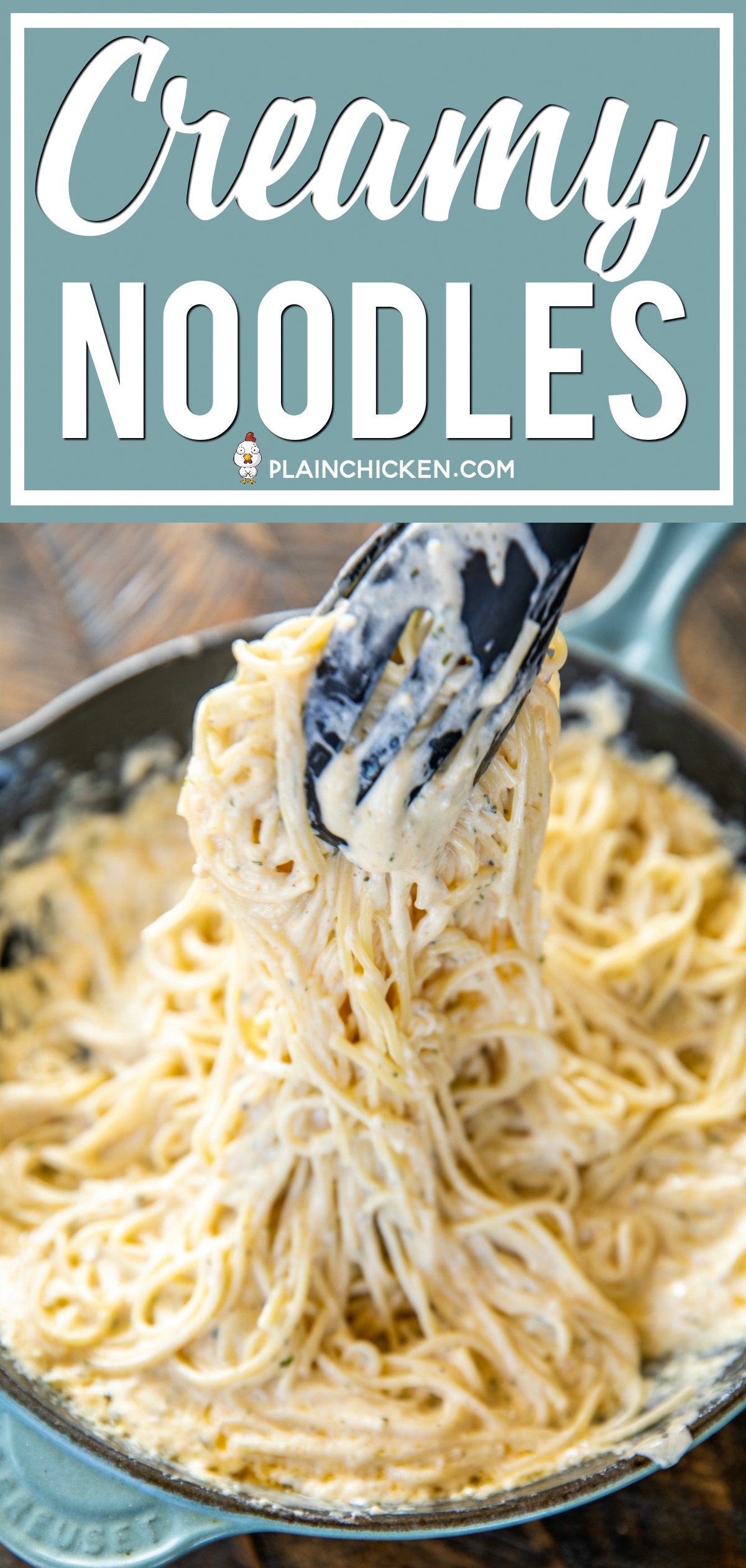 Creamy Noodles - a quick and easy side dish! Ready to eat in about 15 minutes! Spaghetti, cream cheese, milk, parmesan, garlic, butter, cajun seasoning, onion, and parsley. Goes with everything! Steak, chicken, pork. Great side dish or meatless main dish!
