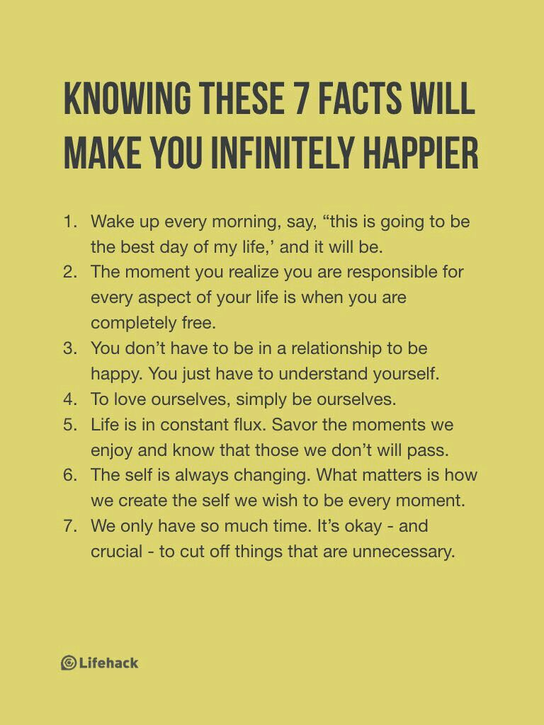 7 facts to a happier life