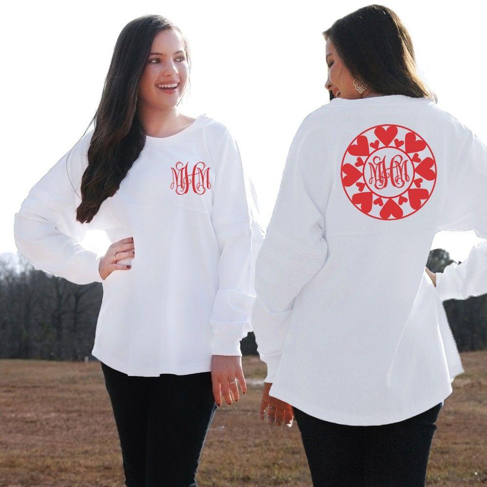 Monogrammed Valentine S Day Heart Circle Pom Pom Pullover Jersey