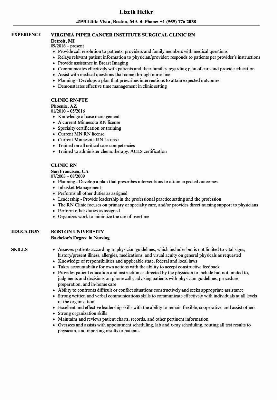 Current Nursing Student Resume Inspirational Clinic Rn Resume Samples Nursing Resume Examples Nursing Resume Resume Examples