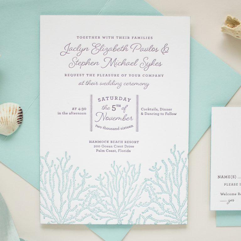Beach Themed Wedding Invitations Coral Invitations