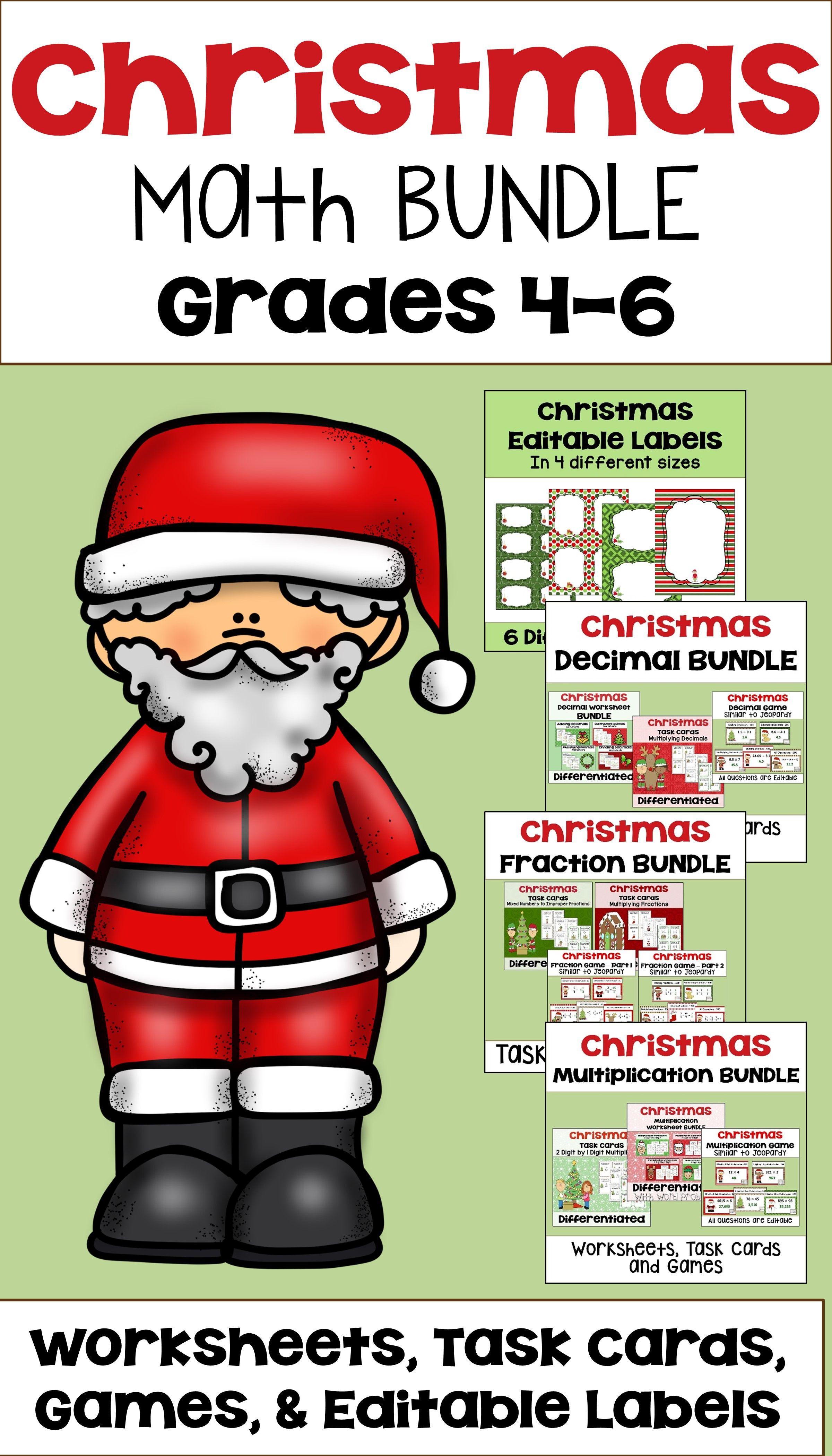Christmas Math Mega Bundle With Worksheets Task Cards