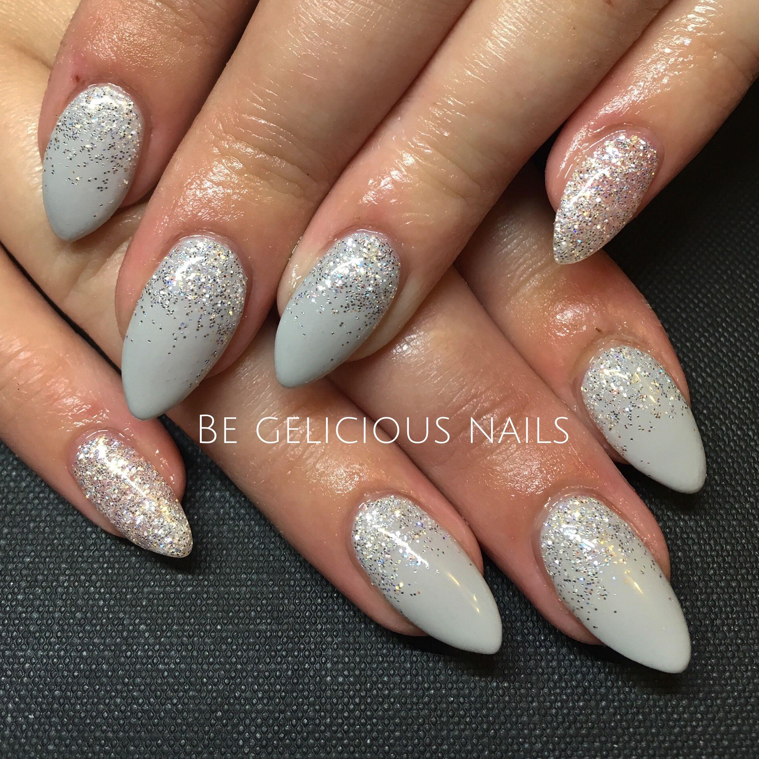 Calgel Nails Gel Nail Art Design Grey Glitter Pointy