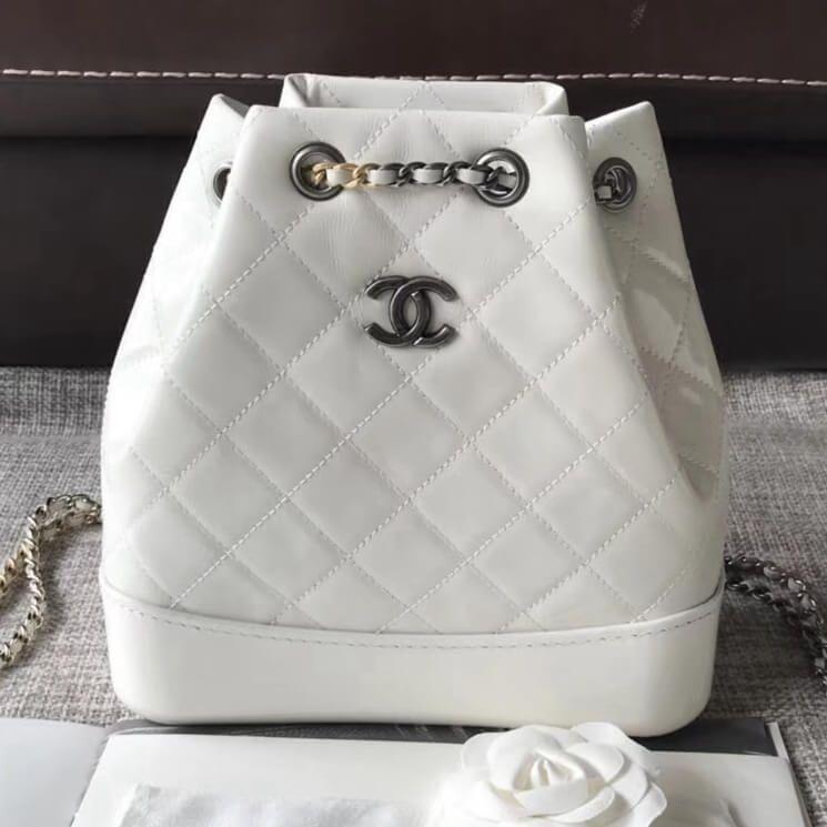 Chanel Gabrielle Backpack Bag In Patent Goatskin Goatskin White 2018 ... a9213d45f75e8